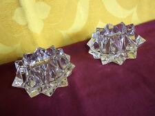 2 BOUGEOIRS DE TABLE en Verre / Cristal ?. Pointes Diamant (voir les photos)