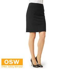 LADIES CLASSIC WORK KNEE LENGTH DRESS SKIRT - NAVY/BLACK/CHARCOAL - SIZES 6-26