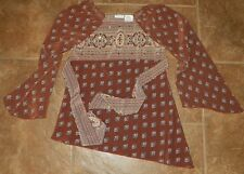 Girls MARY-KATE AND ASHLEY Brown Fall Colors BLOUSE Sheer TOP Size 7/ 8