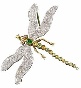 3.45ct Round Diamond 14K Solid Yellow Gold Emerald Topaz Ruby Butter Fly Brooch
