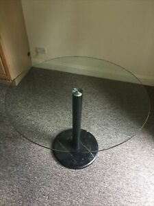 John Lewis Enzo 4-Seater Round Glass Top Dining Table Black Marble Base