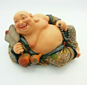 """Colourful Chinese Laughing Happy Buddha Figure With Beads 7"""" Long"""