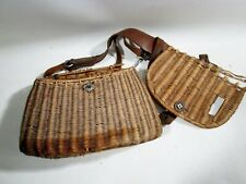 Antique Woven Fishing Creel Basket Wicker Leather As Is Trout & Fly