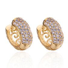 Fashion earings Filigree yellow Gold Plated Full crystal womens hoop earrings