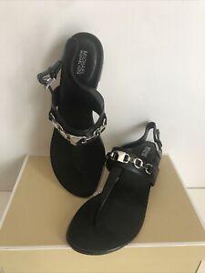NIB!!Michael Kors Charlton Leather Slingback Thong Sandals In Black SZ US 6&9