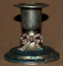 Small vintage metal candle holder with ribbon