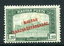 HUNGARY;   1920 early MAGYAR Optd. issue fine Mint hinged 1.20k. value