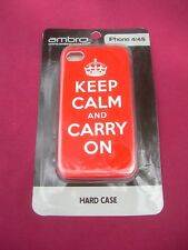 "NEW! Ambro Red ""Keep Calm and Carry On"" Hard Case for iPhone 4/4S"