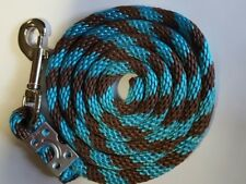 Nylon Poly Miniature Horse Pony goat sheep dog Lead Rope Usa Made teal/brown