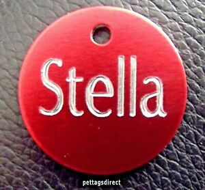 CAT & DOG PET ID Tag Small (25mm) RED Colour  Name Disc DEEPLY CHEAPEST Engraved