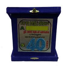 40 ANNI targa degli auguri compleanno personalizzabile glitter 14x14 cm