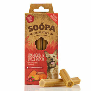 Soopa Healthy Dental Sticks for Dogs Cranberry & Sweet Potato Organic Low Fat