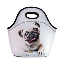 Neoprene Lunch Tote Cute Pug Dog Cooler Storage Picnic Bag Pouch Food Hand Tote