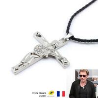 """Pendentif Chaine Collier JOHNNY HALLYDAY """" Guitare & Croix """" Diamant Argenté"""