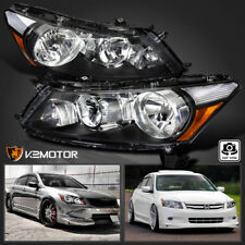 For 08-12 Honda Accord 4Dr Sedan Black Diamond Headlights Head Lamps