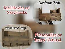 Personalized Key Holder, Mail Organizer, Handmade Rustic Holder, Rustic Key Rack