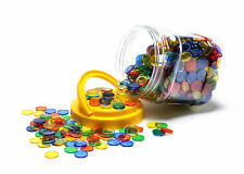 MATHS GAMES TRANSPARENT COLOURED COUNTERS 1000 pk (20mm) In Handy Storage Jar