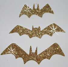 FABRIC 3 BAT GLITTER GOLD GOTHIC iron-on HOTFIX T-SHIRT TRANSFER APPLIQUE PATCH