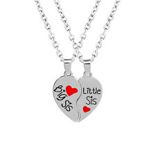 Big sis Little sis Letter Sister Forever Red Heart Glamour Pendant Necklace