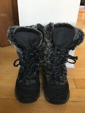 THE NORTH FACE BLACK GOOSE DOWN TIE ANKLE WINTER BOOTS SZ 2 GREAT SOLES UNISEX