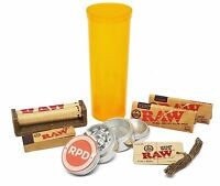 RAW Rolling Paper, Tips, Roller and Hemp Wick with Grinder and Storage Container