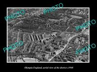 OLD LARGE HISTORIC PHOTO OF OLYMPIA ENGLAND, AERIAL VIEW OF THE DISTRICT c1940