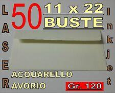 50 BUSTE 11x22 ACQUARELLO AVORIO STAMPANTE LASER inkjet c/strip gr120