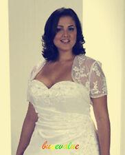G Size plusJacket  Bolero white Lace Wedding Evening Dresses ivory Coat large
