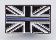 UNION JACK UK THIN BLUE LINE POLICE MOURNING BAND ENAMEL LAPEL BROOCH BADGE