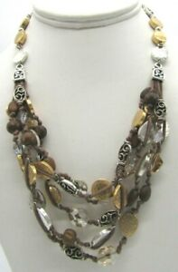 """BRIGHTON Rivera Gold Silver Hammered Disk Crystal Brown Multi Cord Necklace 20"""""""