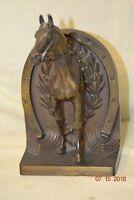 Bradley & Hubbard Horse Framed by Horseshoe Bookend