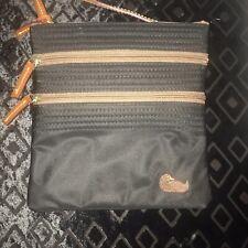 Dooney & Bourke Black Nylon Triple Zip Crossbody Bag Shoulder Bag Handbag