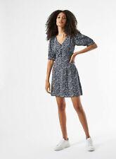 Dorothy Perkins Womens Navy Ditsy Print Button Mini Skater Dress V-Neck