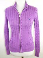 RALPH LAUREN SPORT Women's XS - Purple Cable Knit Full Zip Cardigan Sweater