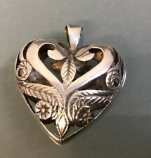Silver Vintage 'Love Heart' Pendant Weight 9.43g Stamped Well Made Quality