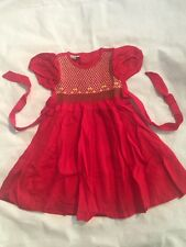 Girls Hand Embroided Short Sleeves Red Dress Size 2 (A3)