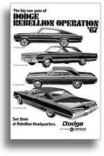 24x36 1967 DODGE CHARGER CORONET DART POLARA AD POSTER ART PRINT REBELLION R/T
