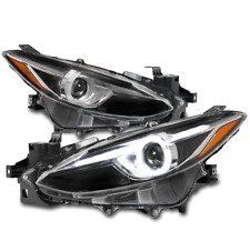 For 2014 2016 Mazda 3 Halo Led Tube Halogen Black Projector Headlights Headlamps Fits Mazda 3