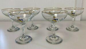 Vintage Retro Babycham Orignal 1960's Cocktail Glasses x6 E45