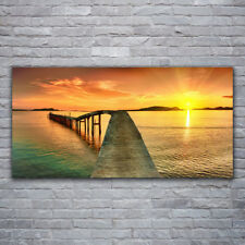 Tulup Wandbilder Glasbilder Dekobild 120x60 Sonne Meer Brücke Landschaft