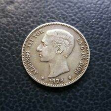Moneda de Plata española 1 Peseta 1876 Estrellas * 1- * 7- Alfonso XII - 4.97 g.