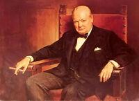 Oil painting hermann kern - Male portrait sir winston churchill smoking canvas @