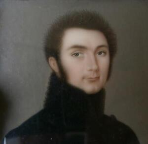 STUNNING 1820 RUSSIAN ? PORTRAIT MINIATURE of a HANDSOME YOUNG OFFICER IN BLACK
