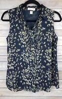 Coldwater Creek Womens Sleeveless Blouse Top Button Black Tan Print Size XS 4-6