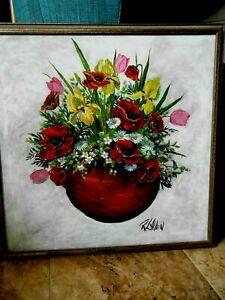 "Robert L ALLEN Original Painting Florida Artist Canvas 33"" Square"