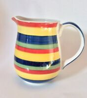 "NEW Swirl Pitcher 7 1/2"" Multicolor Hand painted by Tabletops Unlimited 64oz"