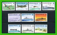 SOLOMON IS.1992 JAPAN/USA in WWII PACIFIC set#2 MNH  MILITARY PLANES, SHIPS