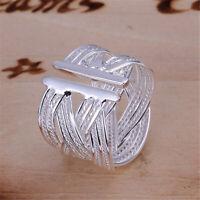 Damen Silberring Schlicht Mehrreihig Vintage Breit Ring Silber 925 Verstellbar