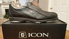 2014 Footjoy Fj Icon Spikeless Mens Golf Shoes 52291 New Black 9.5W Mint!