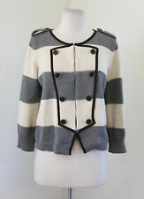Ann Taylor LOFT Gray Cream Striped Military Style Cardigan Sweater Size M Knit